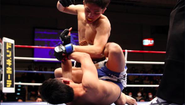 リング上で相手選手にグラウンドパンチ技をかける